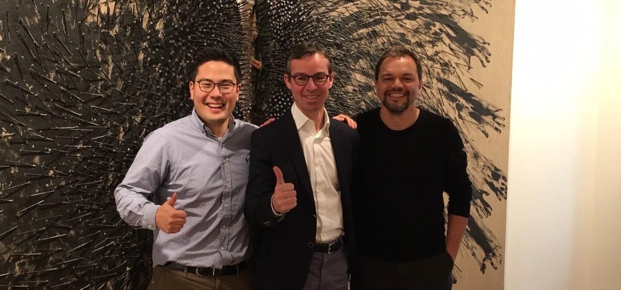 Julian Hoffmann (Co-Founder doxter), Patrick Kersten (Doctena-Founder) und Dr. Ron Lehnert (Co-Founder doxter